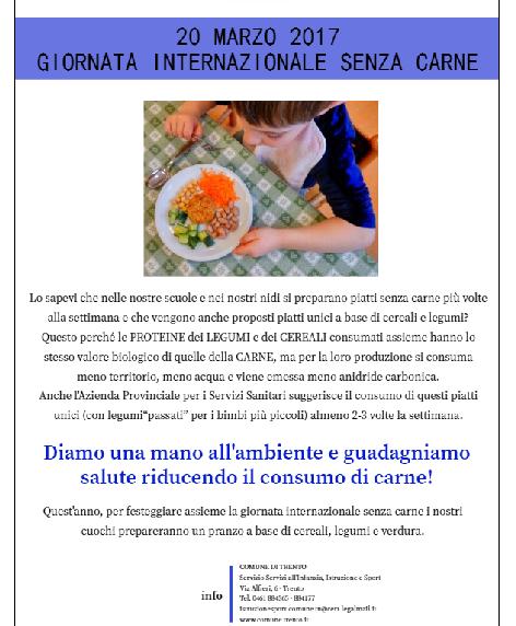 locandina comune Trento alimentazione vegana bambini