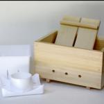 Il contenitore in legno che viene usato per realizzare il tofu