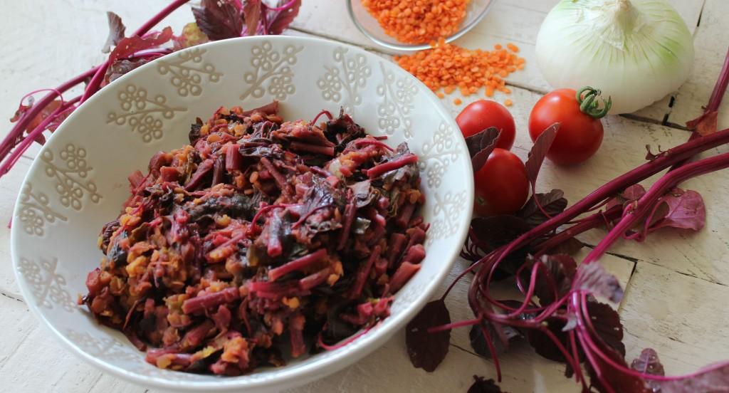 spinaci rossi e lenticchie