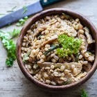 orzo perlato cipollotti tempeh shiitake