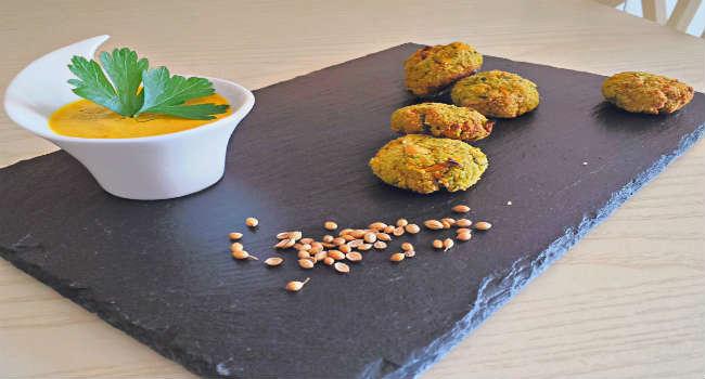 Polpette di Ceci e verdure con crema ai peperoni