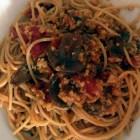 spaghetti ragu di seitan e funghi