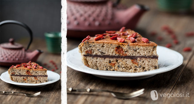 torta integrale al grano saraceno e goji