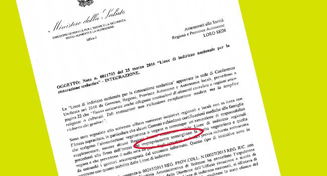 Ministero Salute mense scuola vegane