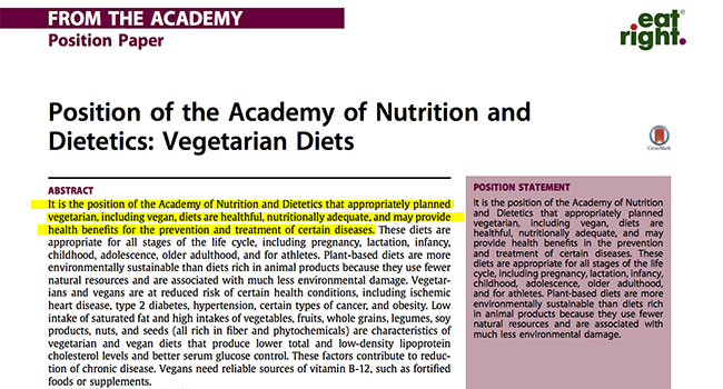 Academy of Nutrition and Dietetics vegani
