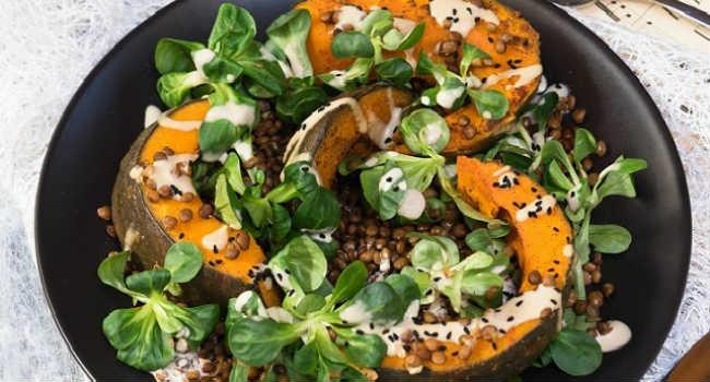insalata di zucca e lenticchie