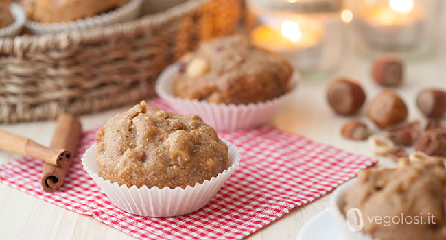 muffin vegani mele e nocciole