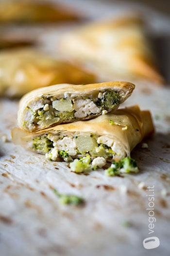 Fagottini di pasta fillo con tofu e broccoli