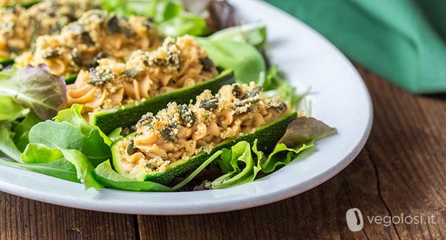 Zucchine ripiene vegane senza forno