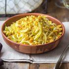 Tagliolini con finocchi al limone e briciole di tempeh