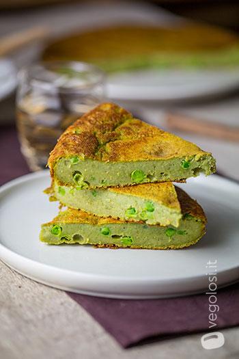Frittata verde di ceci con erbette e piselli