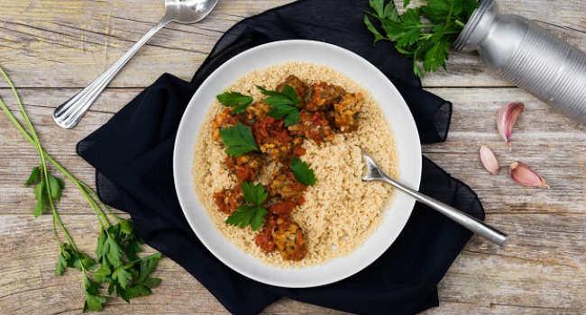 cous cous con tempeh al curry