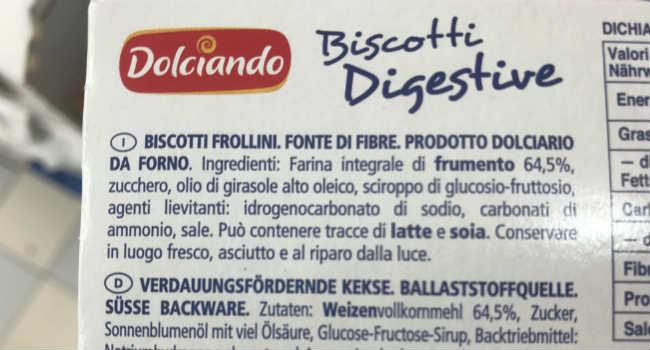 Biscotti digestive Eurospin ingredienti