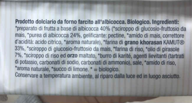 Crostatine germinal albicocca ingredienti