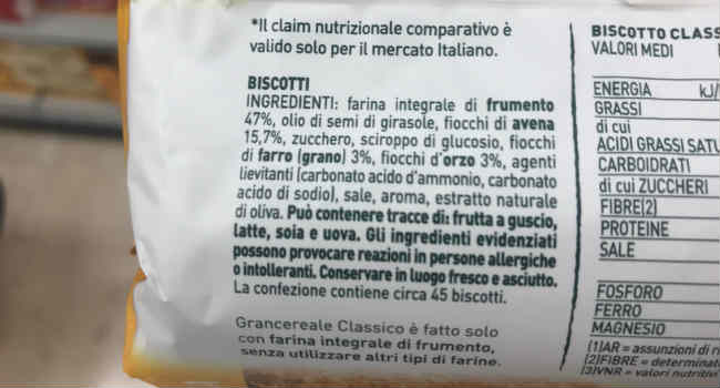 Gran Cereale Classico ingredienti