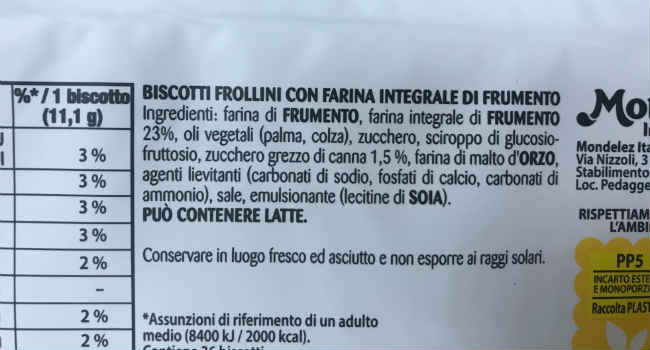 Ingredienti Cruscoro Saiwa