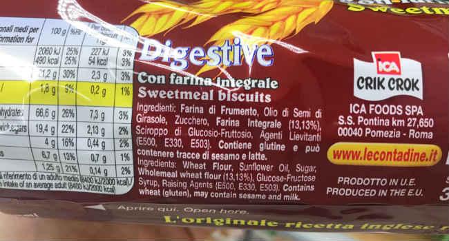 Ingredienti Digestive Le Contadine