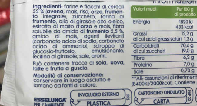 Ingredienti biscotti 5 cereali Esselunga equilibrio