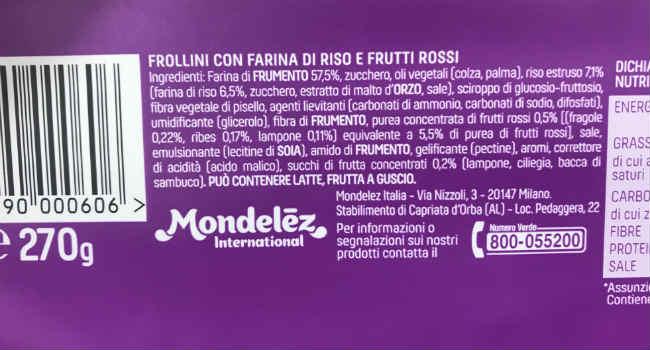 Ingredienti biscotti Vitasnella frutti rossi