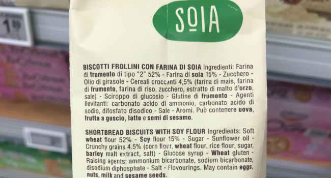 Ingredienti biscotti alla soia Misura