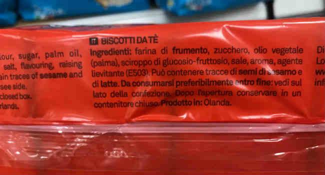 Ingredienti biscotti da Tè Biscom