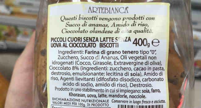 Ingredienti biscotti gocce di cioccolato Artebianca
