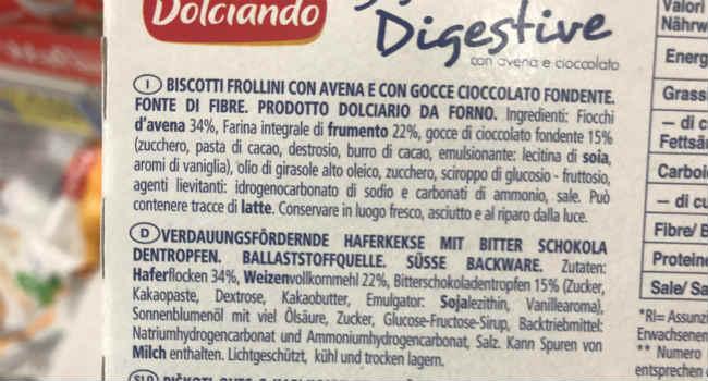 Ingredienti digestive eurospin gocce di cioccolato