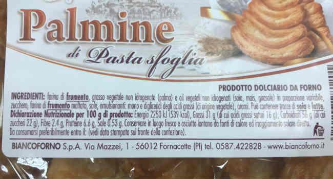 Ingredienti palmine bianco forno