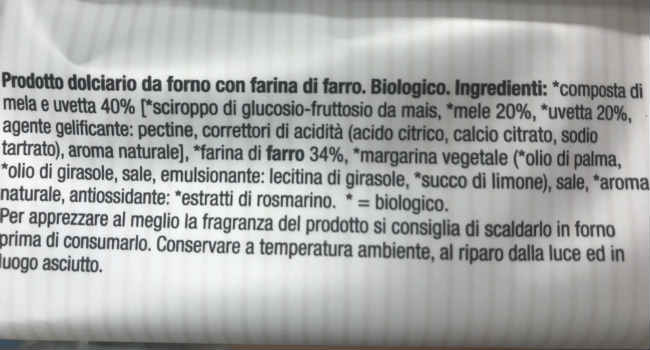 Ingredienti sfogliatine alla frutta germinal