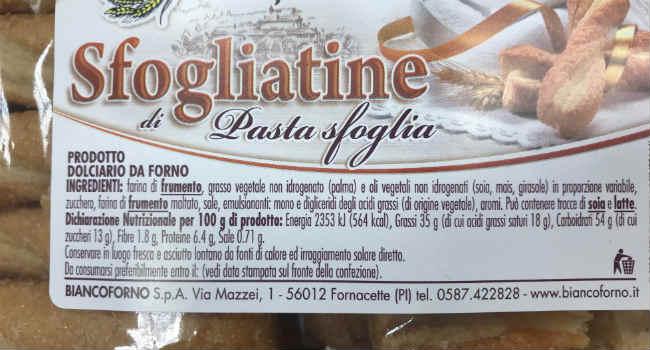 Ingredienti sfogliatine bianco forno