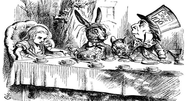 """Un'illustrazione d'epoca tratta da """"Alice nel paese delle meraviglie"""" dato alle stampe nel 1865. Gli animali hanno sempre un ruolo fondamentale."""