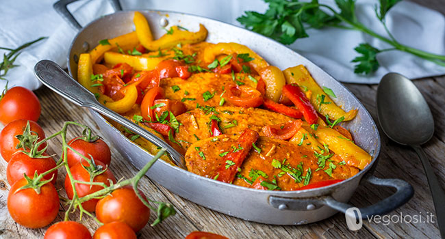 filetti di quorn pomodori paprika peperoni