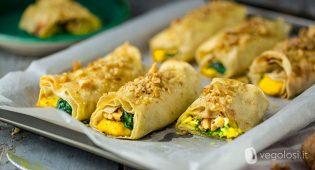 Involtini di pane carasau con hummus al curry, spinaci e noci