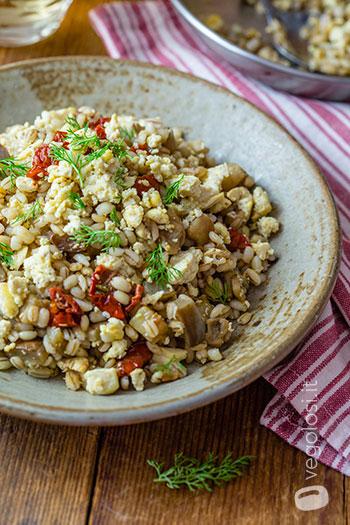 Orzo alle melanzane con tofu, aneto e pomodori secchi