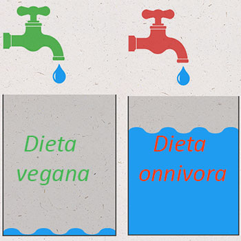 Spreco acqua dieta onnivora e vegana