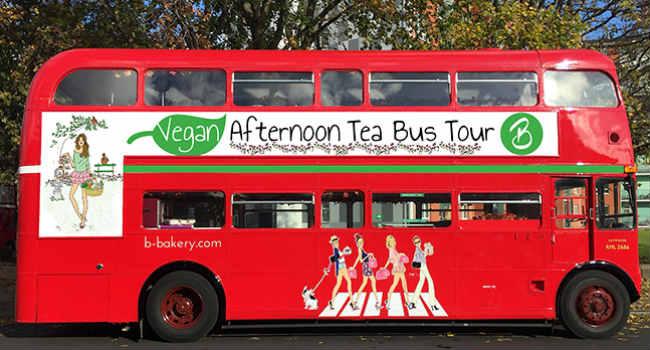 vegan afternoon tea bus tour Londra