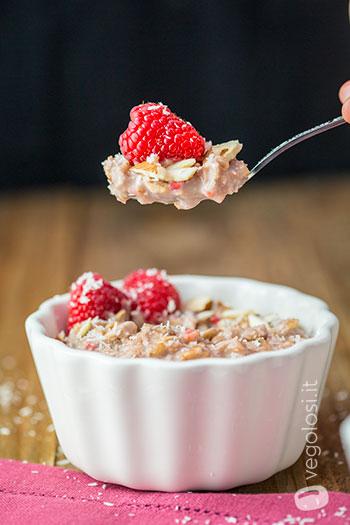 Porridge vegan ai lamponi e cocco
