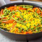 Paella vegana estiva