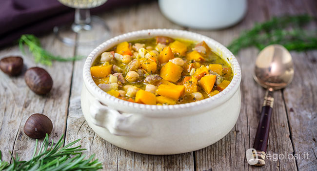 Zuppa di ceci zucca e castagne