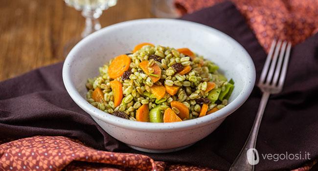 farro uvetta carote e porri