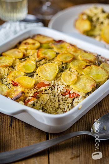 Riso patate e carciofi - Tiella barese vegan