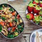 Bento box vegan con insalata di cereali alle melanzane e borlotti